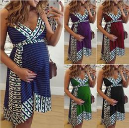 Vestiti di maternità Abiti da Bretelle Abbigliamento gravidanza stampato incinta Vestito aderente irregolare casuale mini Nursing Dress A5984 da