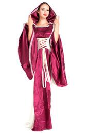 2020 фиолетовая женщина средневекового платья Фиолетовый Vintage Европейский суд платье костюм для взрослых женщин Средневековый костюм Cosplay Halloween Queen Medieval Вечерние платья дешево фиолетовая женщина средневекового платья