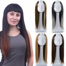 Long duas perucas de tom on-line-Resistente ao calor Sintético Dois Tons Peruca Longa Em Linha Reta Penteado Meia Cabeça Peruca Em Uma Forma De U 17 Polegadas Com Muitas Seleção De Cores