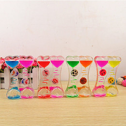 oil hourglass Coupons - Acrylic Hourglass Timer Clock Ornament Smile Face Floating Color Mix Illusion Timer Liquid Motion Visual Slim liquid Oil Glass