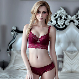 6f1b437bba8bb Women Sexy Lace Bra Set Underwire Back Closure Push up Underwear 3 4 Cup  Bras Adjustable Strap Bralette Lingerie Briefs W1720