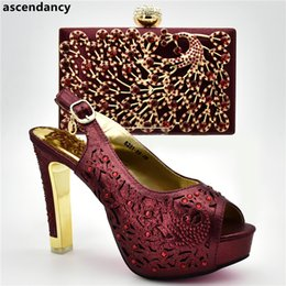 51153340a27998 Latest Fashion Italian Ladies Shoes and Bag To Match Set Decorated with Rhinestone  Women Shoes High Heel Bag and Shoes Set Italy