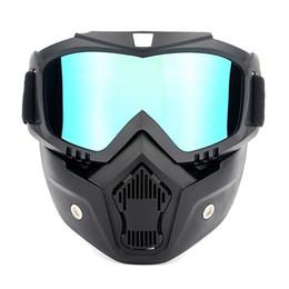 casco protector táctico Rebajas Ciclismo desmontable Motocicleta Tactical Face Goggles Máscara Moto Wind Dust Proof Racing Cycling Helmet Protective Goggles Mask