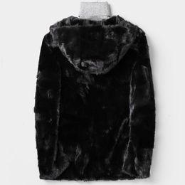Abrigos de piel de hip hop de hombres online-Para hombre casual de invierno de lujo real Escudo de negocios Outwear calidad superior Piel real Hip Hop peludo abrigo con capucha de la chaqueta del hombre 4XL