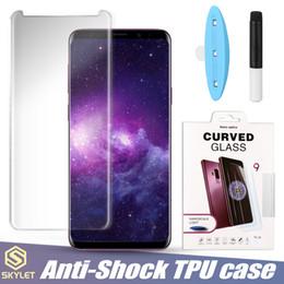 Caso di luce di samsung online-Full Case Adesivo Full Glue Curved Edge Glass per Samsung S9 Note 9 S10 Liquid Dispersion Tech con Protector Light Ultra nella scatola