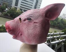 déguisement cochon Promotion Tête de masque de cochon effrayant Halloween Costume Théâtre Prop Latex masque de cochon Unisexe Halloween Déguisement Costume Cosplay
