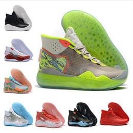Kd mid top basketball schuhe online-Heißer Verkauf 2019 neue Sport-Basketball-Schuhe Kevin-Durant XII KD 12 für die hochwertigen dreifachen schwarzen roten 12s Sport-Turnschuh-Trainer der Männer