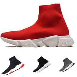 Botas de corrida 46 on-line-Meias Sapatos De Grife De Luxo Speed Trainers Corredores De Corrida Preto Vermelho Triplo Preto Branco Plana Homens E Mulheres Botas De Esporte Da Moda Sneakers 36-46