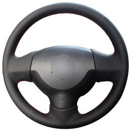 Voitures anciennes en Ligne-Couvre volant de voiture en cuir synthétique noir pour Mitsubishi Lancer EX 10 Lancer X Outlander