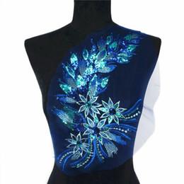 Canada 40 cm bleu paillettes queue de plume fleurs dentelle garnitures maille coudre sur des patchs de broderie pour mariage appliques décoration bricolage Offre