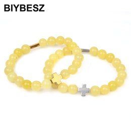 Каменные кресты ручной работы онлайн-New Arrival Cross Hematite  Bracelet 8mm Natural Lemon Yellow Stone Bracelets Women Men Handmade Jewelry Gifts Wholesale