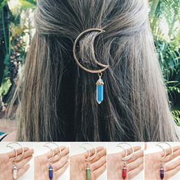 Haarquarz online-8 Farben Crescent Moon Hair Clips Quarz Naturstein Hexagon Prism Charming Hairpin Kopfbedeckung Geschenke Kopfschmuck für Frauen