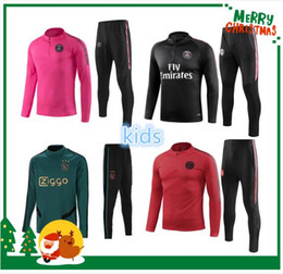 Ropa niños online-2019 2020 PSG niños chándal 18 19 20 ronaldo niño Survetement boy messi Ajax maillot de foot fútbol entrenamiento traje ropa deportiva