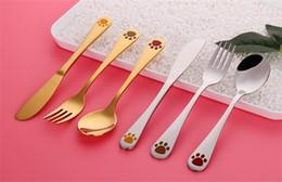 Set di forchetta del cucchiaio del fumetto online-Set di posate per bambini creativi 304 in acciaio inox Coltello forchetta Cucchiaio posate Set di stoviglie stile cartoon in argento color oro