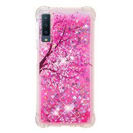 Étui cerise pour samsung en Ligne-Quicksand tpu Housse souple pour Samsung Galaxy S6 / S7 / S8 / S9 / S9plus / note8 / note9 / A3 / A5 / A6 / A7 / A8 / 2016/2017/2017/2018 Cherry Blossom Shimmering Antichoc