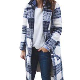 Solapas de abrigo de tela online-OSTRICH GRATIS 2019 Moda Para Mujer Solapa Enrejado Fácil Paño De Lana Largo Abrigo Suelto Abrigo de Alta Calidad Regalo de Moda cristalino