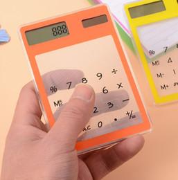 2019 moda financeira Calculadora transparente Criativo Papelaria Estudante Ultra-fino Solar Mini Calculadora para o Office School Party Favor