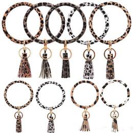 PU-Leopard-Druck-Armband Schlüsselanhänger Art und Weise Kreis-Armband Schlüsselanhänger Tassel Wristlet Schlüsselhalter-Halloween-Party-Geschenk von Fabrikanten