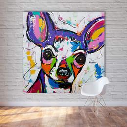 2019 pop art heimtextilien leinwand HDARTISAN Moderne Abstrakte Tier Leinwand Kunst Chihuahua Hund Pop Art Wandbilder Für Wohnzimmer Wohnkultur Malerei Kein Rahmen rabatt pop art heimtextilien leinwand