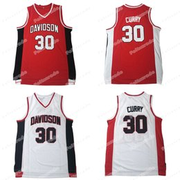 camiseta de baloncesto de curry Rebajas Stephen 30 Curry College Jersey Davidson Wildcats NCAA Baloncesto Jersey Camisa Rojo Blanco Doble Stiched EN STOCK