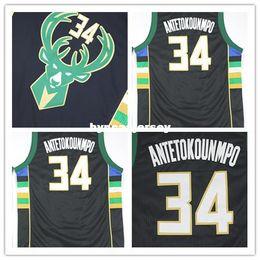 Ventas al por mayor 2015-2016 Nuevo # 34 Antetokounmpo Jersey negro Doble costura Jerseys de baloncesto Camisa uniforme Anti-Pilling Ncaa desde fabricantes