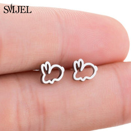 bunny earrings Promo Codes - Stud Earrings SMJEL New Stainless Steel Black Earrings Rabbit Children Kids Ear Jewelry Cute Animal Bunny Piercing Earring Post Gifts