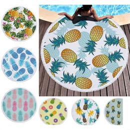 Florale teppiche online-Ananas Strandtuch Cartoon Obst Pflanzen Floral Bedruckte Runde Stranddecke Frauen Quasten Badetuch Hause Bett Sofa Matten Pads Teppich A6403