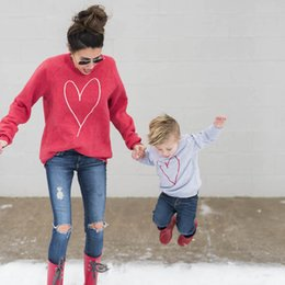 matching mother child clothes Coupons - Mommy And Son Family Matching Mother Son Shirt Tops Clothes Heart Printing Long Sleeve Boy Casual Coat Kids Parent Child Outfits