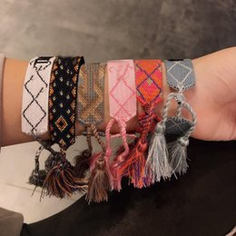 Signos de pulseras online-Marca D Moda Para Mujer Algodón Letra Firma letrero de tela logo Tejida pulsera Brazalete Borla con cordones Bordado Pulsera