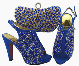 royal blue decorations for party Coupons - Fashion royal blue women pumps and bag set with colorful crystal decoration african shoes match handbag for dress QSL005,heel 12cm
