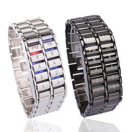 relógio binário de quartzo Desconto Dia Moda presente LXH criativa dos homens Binary LED Digital de pulso de quartzo do Pai