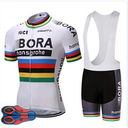 Roupas de ciclismo branco on-line-2018 Branco Bora Ciclismo Equipe Jersey 9D Gel Pad Bicicleta Shorts Ropa ciclismo Mens Passeio De Verão Bicicleta Maillot Culotte Conjunto De Roupas