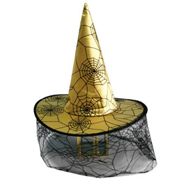 Grandes trajes de chapéu on-line-Mulheres fábrica engraçados das senhoras Big Halloween Fancy Dress Costumes roxo do cetim do ouro Aranha Web Lace Cobweb Veil Witch Hat Brinquedos Presente para crianças