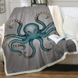 Animais exóticos on-line-Octopus Sherpa lançar cobertor animal étnico Blanket Colchas Plush flor Cobertor Oceano Náutico Cama Exotic