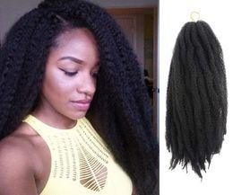 """Extensiones de cabello marley online-¡Gran venta! Marley Braids 18 """"Afro Kinky Twist Hair Crochet Trenzas Color de Ombre Marley Braiding Pelo Sintético Extensiones de cabello (1 pieza, 1B)"""