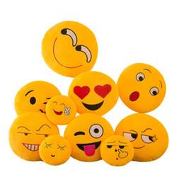 bambole di smiley face Sconti 32 cm Carino Creativo Emoji Cuscini Morbidi Peluche Ripiene Doll Toy Rotondo Emoticon Cuscino Home Decor Divano Letto Faccina Cuscino Per Bambini Carino