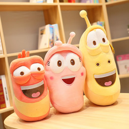 Muñeca de insecto online-1pc Fun Anime Larva Red Yellow Pink Plush Toy Soft Cartoon Insect Stuffed Doll Baby Appease Toy Kid Girl Christmas Birthday Gift