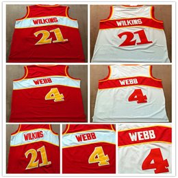 Camisas baratas del color online-Top Sell Jerseys baratos # 4 Spud Webb jersey # 21 Dominique Wilkins Camisas Red White Color Basketball Jersey Embroid