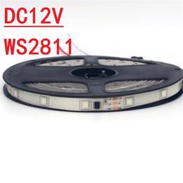 Digital led streifen schwarz pcb online-12V WS2811 RGB führte Streifen-Licht 30Leds Schwarzes oder weißes PWB 5050 imprägniern helle Traumfarbe WS2811 IC Digital