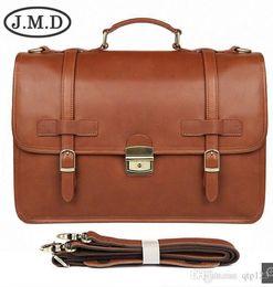 Bolsos de cuero de caballo loco online-Jmd Winter New British Style Exquisite Maletín Hombres S Cuero Business Bag Crazy Horse Leather Briefcase