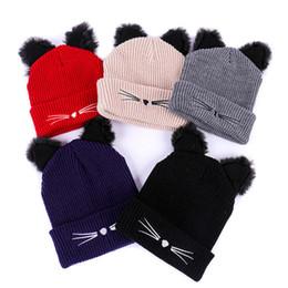 Women Knitting Hat Cap Warm Cat Ears Crochet Cute Winter Adult Hats Kitten  Fluffly Ball Beanie Bonnet XRQ88 362a46f9e0a2
