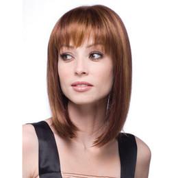 Flequillo de pelo de longitud media online-Recto negro pelucas sintéticas con flequillo para las mujeres de longitud media peluca de pelo Bob resistente al calor bobo peinado cosplay pelucas