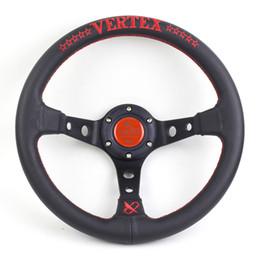 Универсальный красный синий вертекс руль 330 мм кожа глубокая тарелка гоночный автомобиль тюнинг спортивный руль от