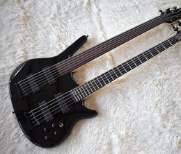 2019 fretless gitarren Fabrik Benutzerdefinierte Double Neck Black E-Bass mit 5 + 6 Saiten, Palisander Griffbrett, ein Fretless, hohe Qualität, angepasst günstig fretless gitarren