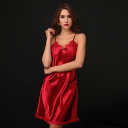 1bea3961a Cinta de espaguete rosa sexy sleepwear para as mulheres nightwear camisola  nighties lingerie vestido de imitação ou seda falsa no verão mulheres sexy  sedas ...