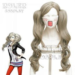2019 anime wellenförmiges haar Persona 5 Perücke Anne Takamaki Cosplay Perücke 60 cm Leinen Cyan Trauben Welliges Langes Haar Hochwertige Halloween Cosplay Anime rabatt anime wellenförmiges haar