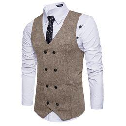 Nuevo traje de chaleco de doble botonadura marrón Chalecos para hombre Chaleco a rayas Slim Fit Chaqueta sin mangas británica Vintage S-XXL desde fabricantes
