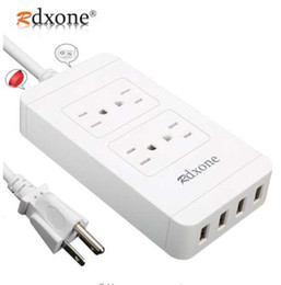 Aumento da tira de potência on-line-Power Strip com USB, Rdxone 4-Outlet Surge Protector Power Bar com 4 USB 6ft