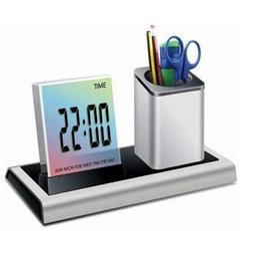 Canada Porte-stylo de bureau Porte-crayons Avec Calendrier Calendrier Porte-plume Lcd Digital Alarm Clock Desk Porte-crayons Offre