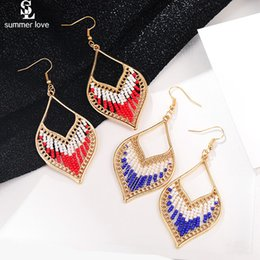 ethnische perlen großhandel Rabatt Ethnische Boho geometrische baumeln Anweisung Ohrring 2019 neue Goldfarbe kleine Perlen lange Ohrring Großhandel Modeschmuck